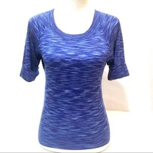 Ann Taylor blue knitted short sleeve sweater